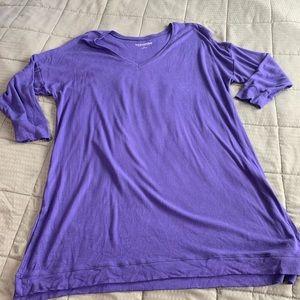 Soft Surroundings Purple Ribbed V neck Top Sz 1X